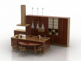 Open kitchen with counter 3d preview