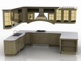 U shaped kitchen design 3d model preview