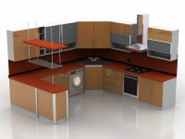 U shaped kitchen with counter 3d preview