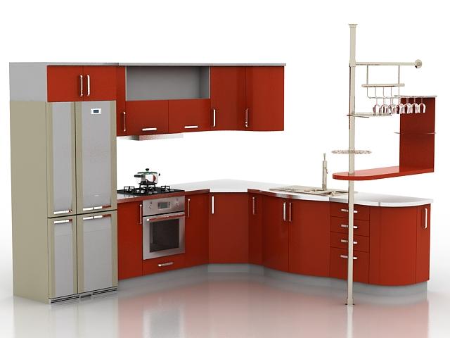 Corner red kitchen cabinets 3d rendering
