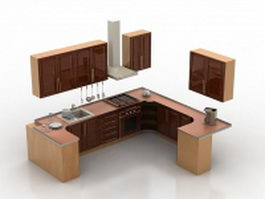 Small U-shaped kitchen design 3d model preview