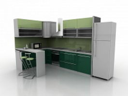 Green kitchen with counter 3d preview