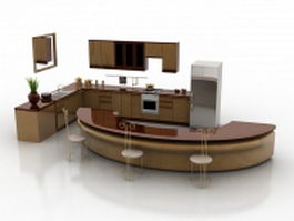 Modern kitchen with counter design 3d preview