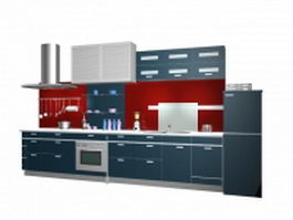 Red and blue kitchen design 3d model preview