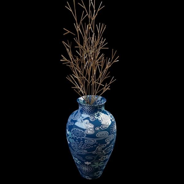 Porcelain vase with sticks 3d rendering