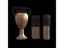 3-Piece modern vase set 3d model preview
