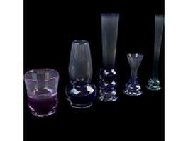 Glass vases set 3d model preview