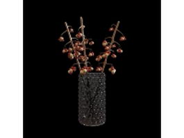 Glass vase with branches 3d model preview
