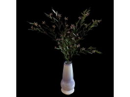 White vase with flowers 3d model preview