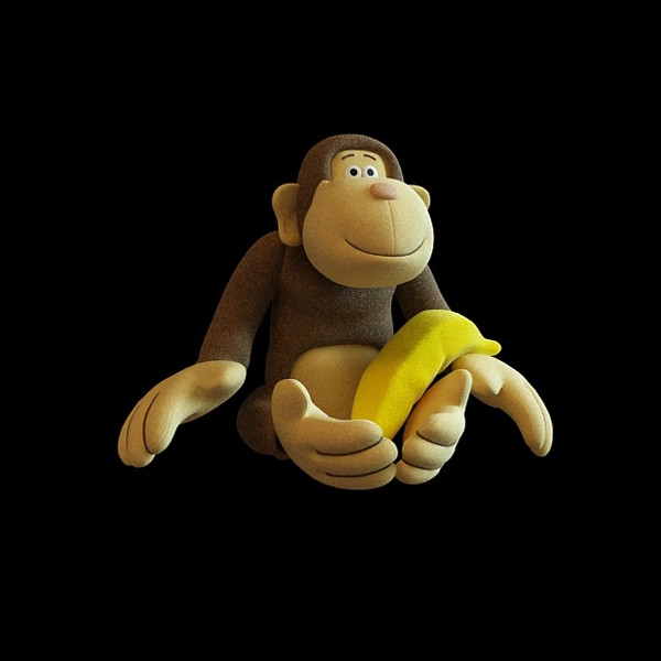 Toy monkey with banana 3d rendering