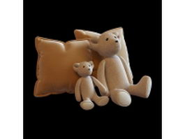 Toy bear figure with pillows 3d preview