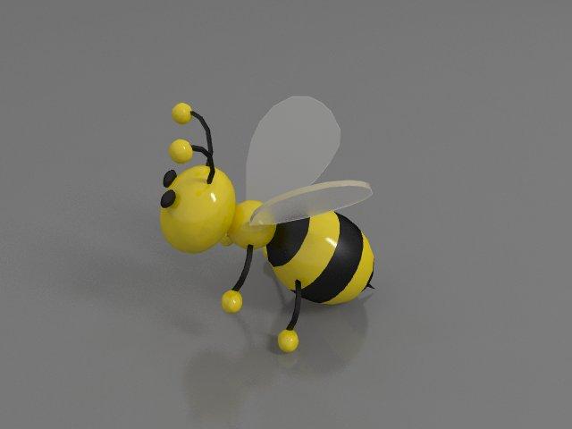 Plastic toy bee 3d rendering