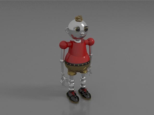 Vintage toy robot 3d rendering