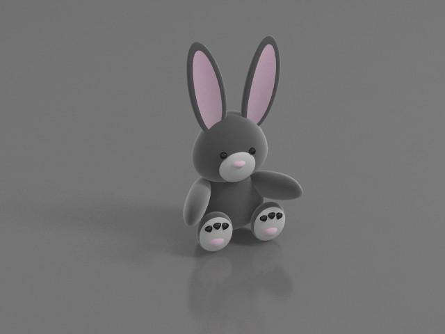 Soft toy rabbit 3d rendering