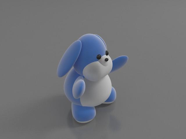 Stuffed toy rabbit 3d rendering