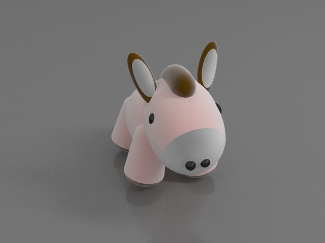 Soft toy donkey 3d rendering
