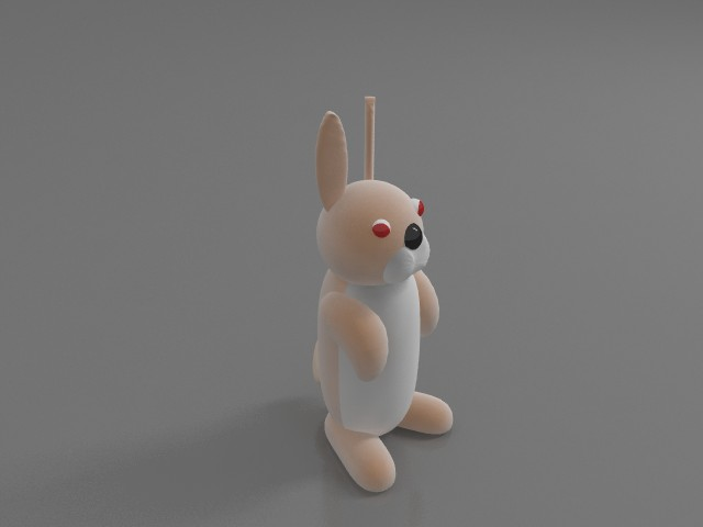 Red eye rabbit toy 3d rendering