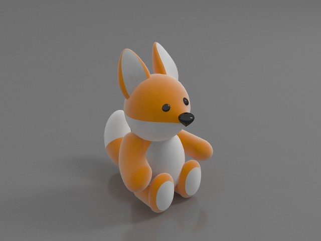 Soft toy squirrel 3d rendering