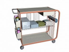 Hospital ward utility cart 3d preview