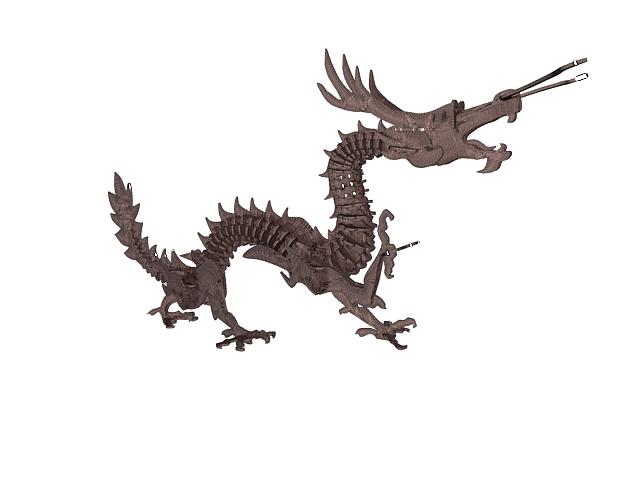 Dragon wood carving 3d rendering