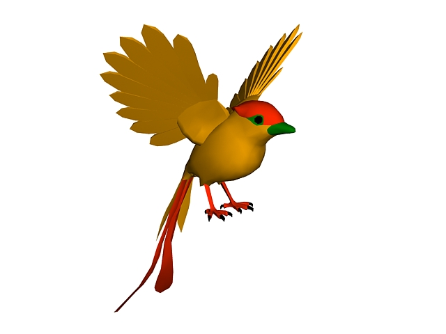 Golden bird 3d rendering