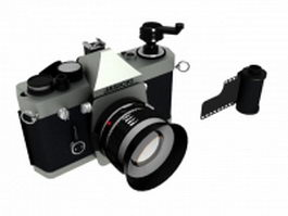 Camera with film roll 3d model preview