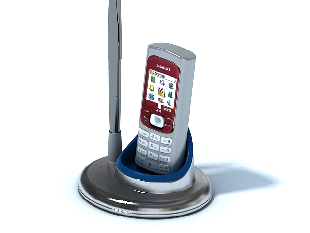 Mobile phone with holder 3d rendering