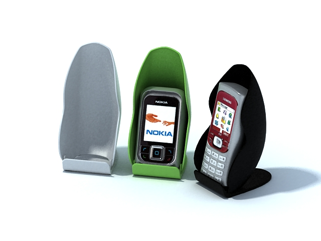 Mobile phones and phone holders 3d rendering