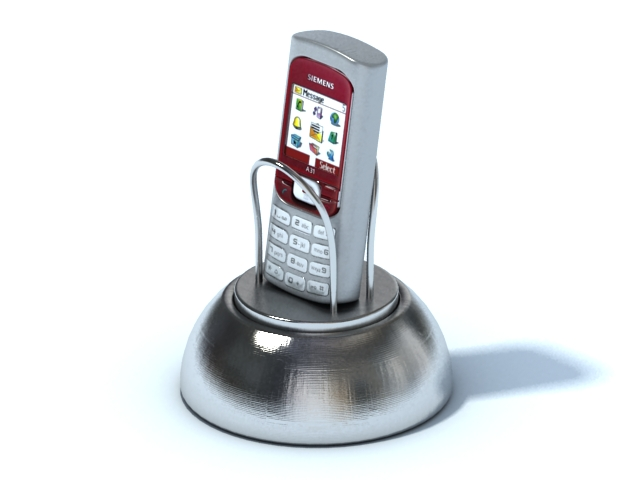 Mobile phone with metal phone holder 3d rendering