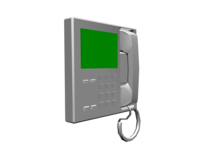 Corded wall phone 3d rendering