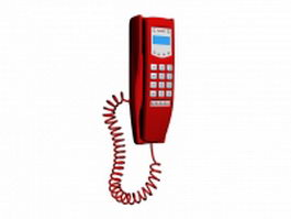 Red wall phone 3d model preview