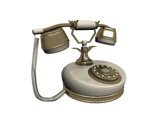 Vintage rotary dial telephone 3d rendering