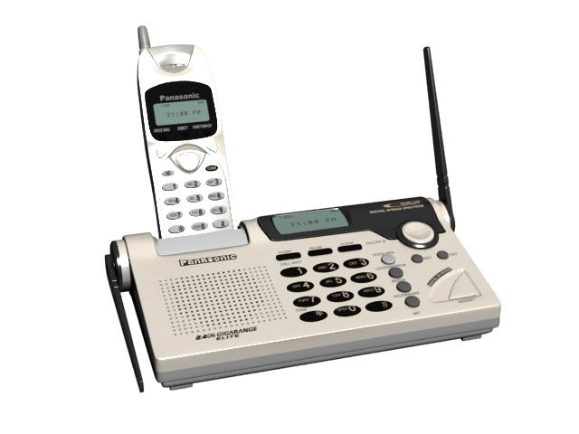 Panasonic expandable cordless phone 3d rendering