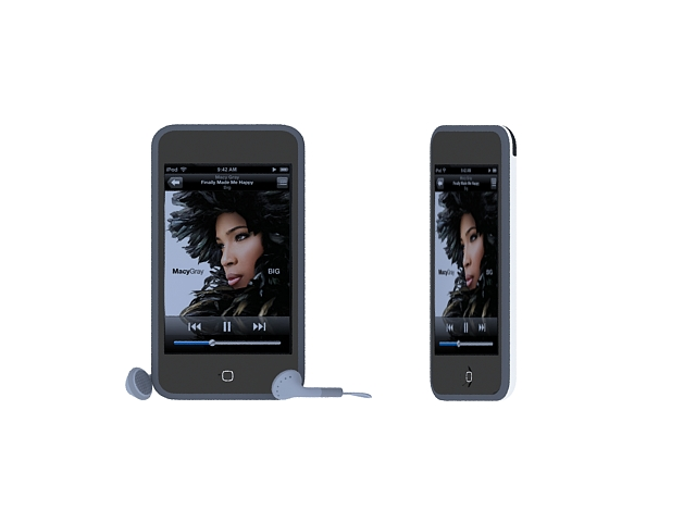 iPod Touch with earphone 3d rendering