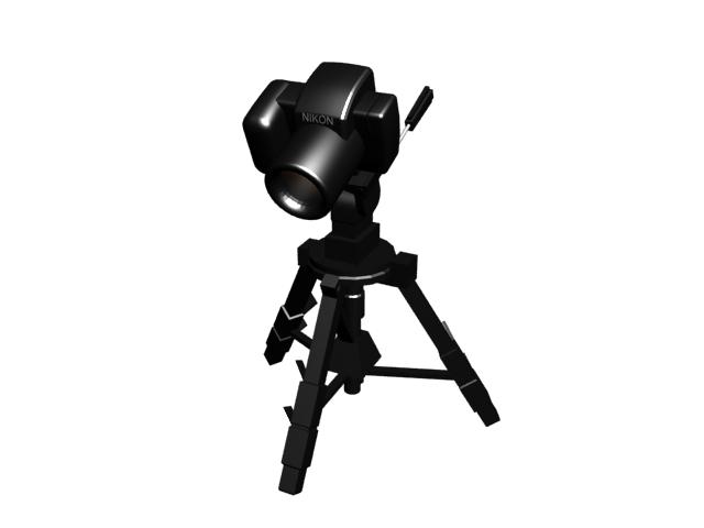 Camera on a tripod 3d rendering
