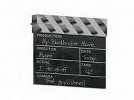 Black clapperboard 3d preview