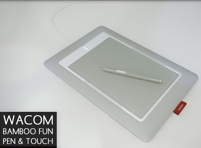 Wacom Bamboo capture tablet and pen 3d rendering