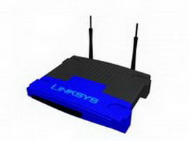 Wireless Linksys router 3d preview