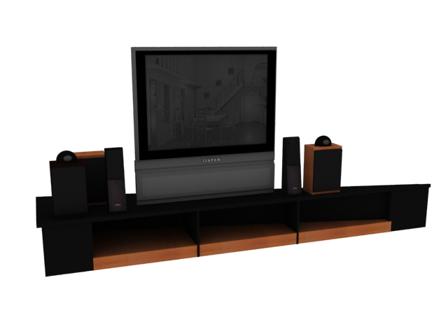 Transitional Home Theater 3d rendering