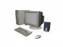 Desktop computer set 3d model preview