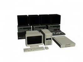Video editing workstation computer set 3d model preview