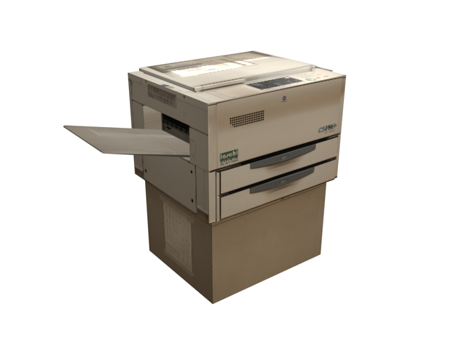 Old photocopier machine 3d rendering