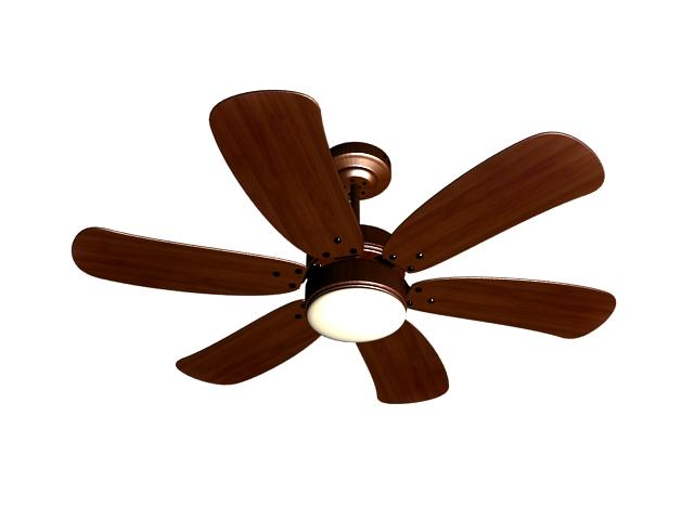 Wood ceiling fan with light 3d rendering
