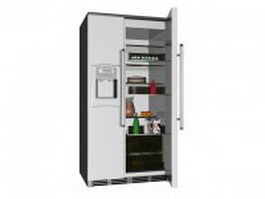 Open refrigerator with foods 3d preview