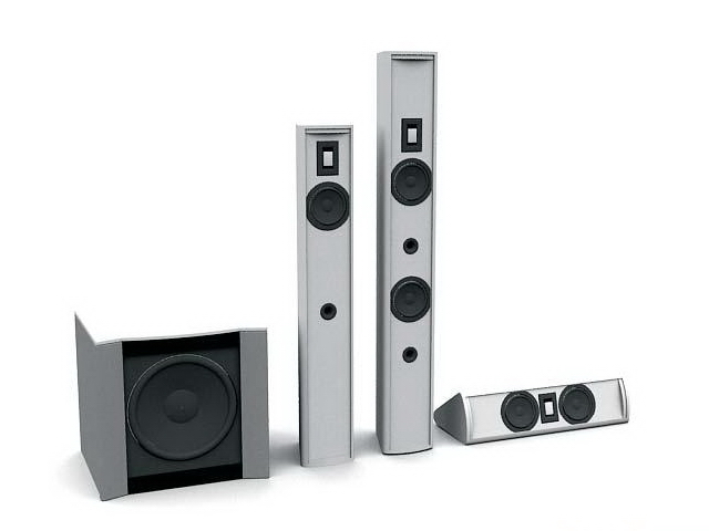 Home theatre speaker system 3d rendering