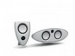 Desktop computer speakers 3d model preview