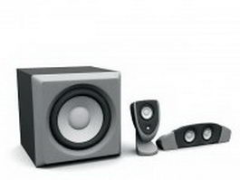 2.1 desktop speaker 3d preview