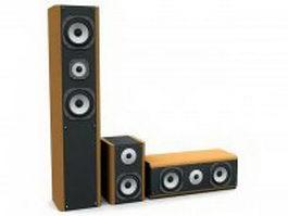 3-way speaker system 3d model preview