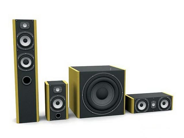 Home-Theater speaker system 3d rendering