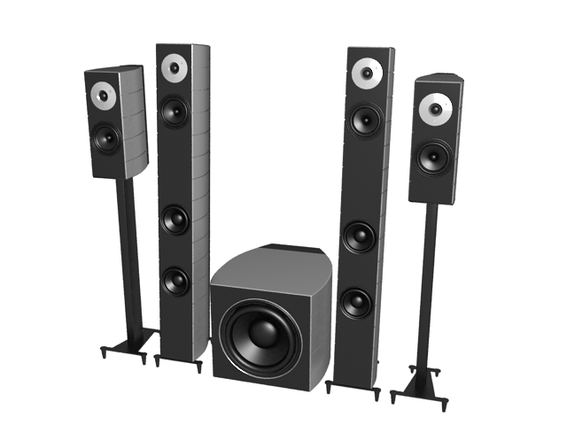 Home surround sound speaker towers 3d rendering